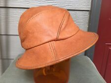 Vintage Handcrafted British Tan Leather woman's Hat Fishing Safari Boho M Unisex