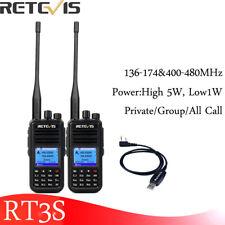 2XRetevis RT3S UHF+VHF Walkie Talkie DMR Ham Radio 3000CH 2000mAh Alarm VOX
