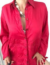 M LINE WOMENS SHIRT BUTTONS FRONT SOFT COTTON RED WORK PARTY SZ 16