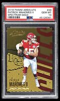 POP 11 PSA 10 Patrick Mahomes II 2018 Panini Absolute SPECTRUM GOLD #49 Rare!