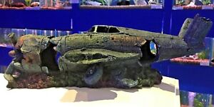 Large 42cm Fighter Plane Wreck Ruin Fish Tank Aquarium Ornament P1