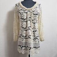 Sundance Off White Lace Tunic Top Cotton Size M