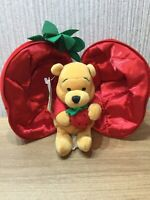 """Disney Winnie The Pooh Plush Strawberry Soft Toy Rare Teddy Collectable New 8"""""""