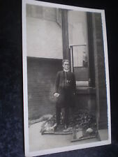 Old real photograph postcard vicar in his back yard c1920s