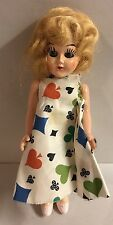 "Vintage 6"" Hard Plastic Doll Sleep Eyes Playing Card Dress Antique Toy"