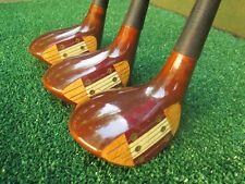 Golf Auld Classic Persimmon Genuine USA Vintage 3 Wood Set 3,4,5 Very Nice Orig.