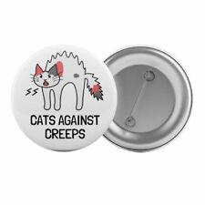 "Cats Against Creeps - Badge Button Pin 1.25"" 32mm Feminist Feminism Riot Grrl"