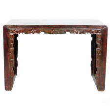 """Antique Chinese 50"""" Wide Scroll Foot Altar table Desk Dark lacquer w Carvings"""