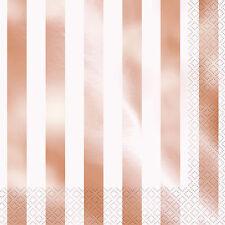 16 x ORO ROSA METALIZADO Rayas Servilletas de papel ORO ROSA servilletas fiesta