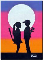 "BANKSY STREET ART CANVAS PRINT love hurts 18""X 12"" stencil poster"