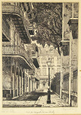 "Eugene E. Loving (American, 1908-1971) Etching ""Pirates Alley, Old New Orleans"""
