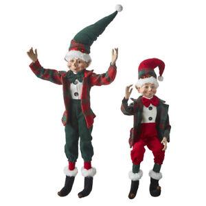 "RAZ Imports 20"" Posable Elves Elf Set/2 Red Green Plaid Christmas NEW! 4102269"