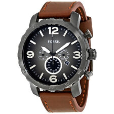 Fossil Nate Chronograph Brown Leather Mens Watch JR1424
