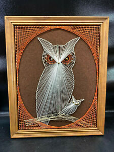 Vtg Outsider Folk Art STRING ART OWL Wood Framed Wall Hanging Orange White Brown