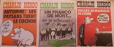 """Lot de 3 """"CHARLIE HEBDO""""          9, 16 et 23 octobre 1975 --  n°s 256-257-258"""