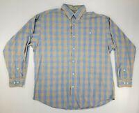Orvis Mens Dress Shirt Blue/Brown Plaid Long Sleeve Button Down - L