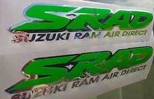 2 x SRAD Suzuki Decals / Graphics / Stickers Chrome / Dayglow Green