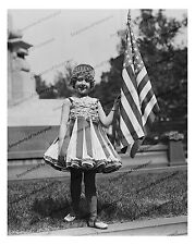 1910s era vintage photo-July fourth-Liberty-American flag-little girl-8x10 in