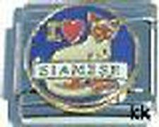 1 I Love Heart My Siamese Cat 9MM Stainless Steel Italian Charm Brand New!