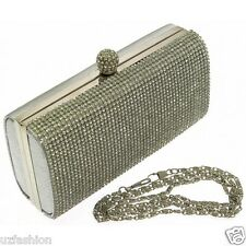 Cristal duro caso Diamante señoras Pedrería fiesta noche clutch bag Plata