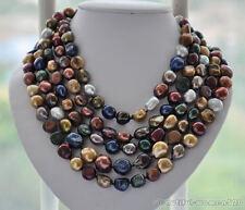 z5267 Long 15mm baroque multicolor FW cultured pearl necklace 100inch