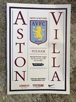 Aston Villa v Fulham - Barclays Premier League 2007/2008 Programme