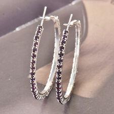 Around Purple Cubic Zirconia 9k white gold filled Ladies Hoop Earrings F4534