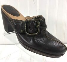 FRYE Boots Brown Clogs Mules Shoes Heel Women Size 6.5M Candice Woven Leatherx10