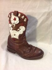 Girls Red Rag Brown Leather Boots Size 30