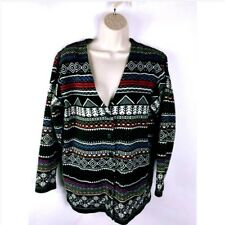 Talbots Women's Sweater Striped Geometric Button Down Size Medium