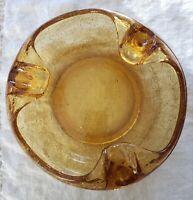 "VINTAGE CIGAR ASHTRAY AMBER CRACKLE GLASS 3 SLOT 7"" VIKING MCM MAN CAVE"