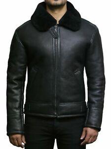 Tailor Made Men's Genuine Black Sheepskin Leather Flying Pilot Stylish Jackets