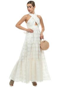 RRP€1265 ULLA JOHNSON FONTAINE Organza Jacquard Wedding Gown Size 4 S Silk Blend