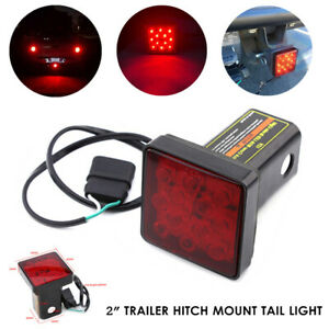 "2"" 12V Trailer Turck Hitch Mount Tail Light 12LED Tow Bar Lamp Hitch Pin w/Lock"