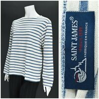 Womens Saint James Breton Long Sleeve Top Sailor Shirt Striped White Blue Size S