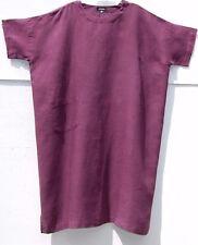 """Eskandar PLUM Light Weight  Linen Short Sleeve 45"""" Long Dress w/Pocket (0) $895"""