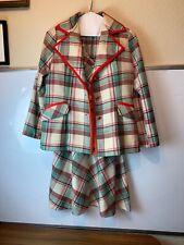 LILLI ANN VTG Plaid 3 PC SUIT VEST SKIRT Jacket Red Green Size Vintage large 10