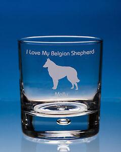 Belgian Shepherd Whisky Glass Dog Gift Personalised Engraved Dog Whisky Tumbler