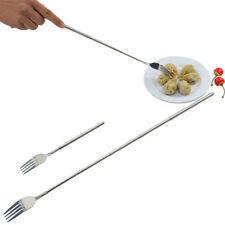 Stainless Steel Telescopic Extendable Fork BBQ Fruit Dessert Long@Cutlery Forks~
