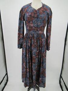 L8358 VTG Women's Laura Ashley 80's Long-Sleeve Floral A-Line Dress Size 8