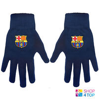 FC BARCELONA KNITTED NAVY GLOVES WINTER WARM SPORT OFFICIAL FOOTBALL SOCCER CLUB