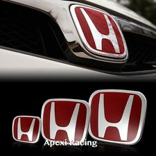APEXI SET OF 3 RED FRONT + REAR + STEERING EMBLEM BADGE CIVIC 4D SEDAN 2016-2018