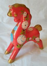 Vintage Russian Red Khokhloma Horse Wooden Painted Figure Dala Style