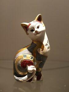 Katze Gilde mit Spiegel Mosaik verziert Deko Geschenk Trend Skulptur Figur