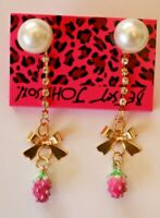 Betsey Johnson Crystal Rhinestone Enamel Pearl Strawberry Post Earrings