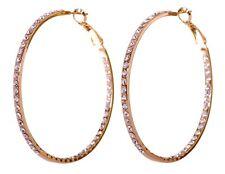 "Swarovski Elements Crystal 2"" Somerset Hoop Pierced Earrings Gold Plated 7224w"