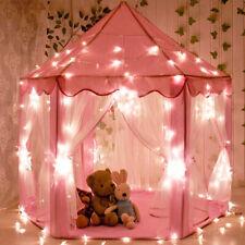 Girls Kids Princess Castle Play Tent Large Playhouse Toy Pink + Rug + Star Light