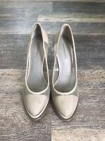 Alexander Wang Light Gray Sheer Mesh Suede Pumps Wooden Heels 38 / 8