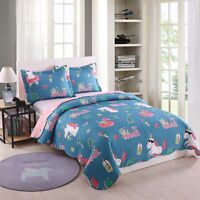 2pcs kids Quilt Bedspread Comforter Set Throw Blanket for Boys Girls Unicorn