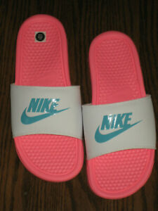 NEW womens scuffs sandals shoes 9 9.5 slide Nike white pink